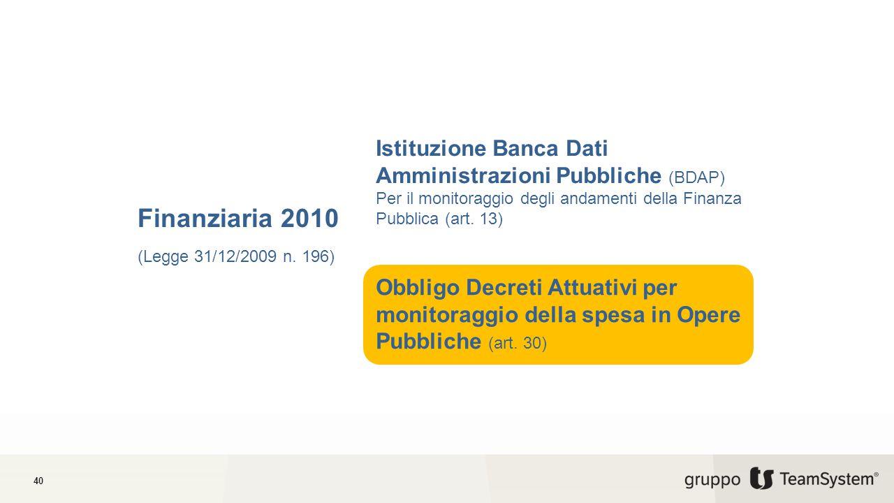 40 Finanziaria 2010 (Legge 31/12/2009 n.