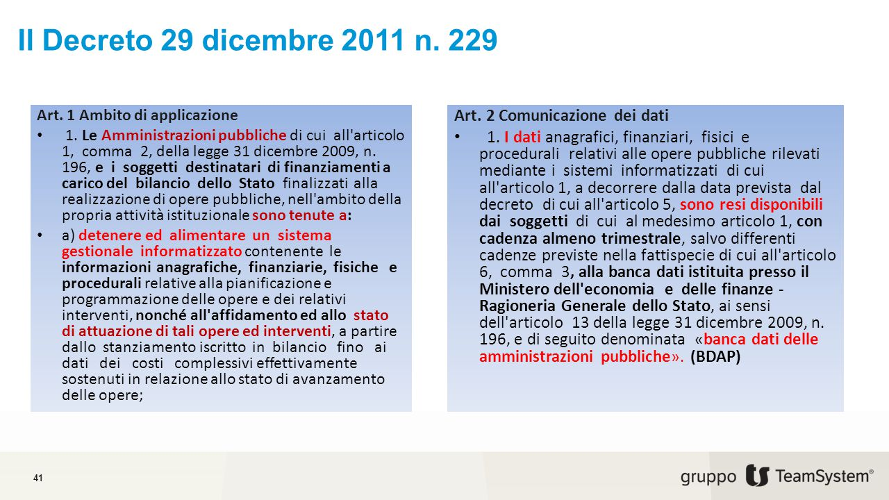 Il Decreto 29 dicembre 2011 n.229 41 Art. 1 Ambito di applicazione 1.