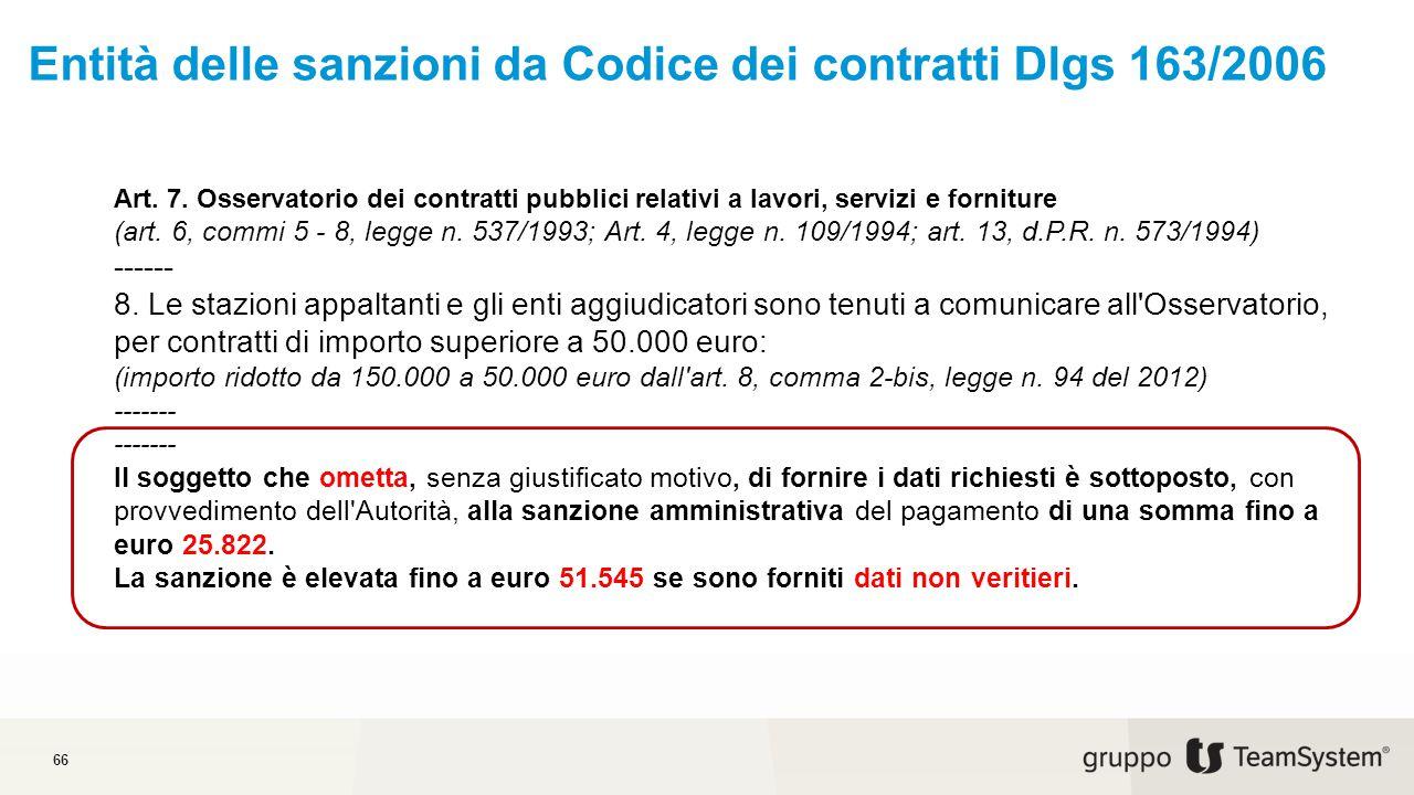 Entità delle sanzioni da Codice dei contratti Dlgs 163/2006 66 Art.