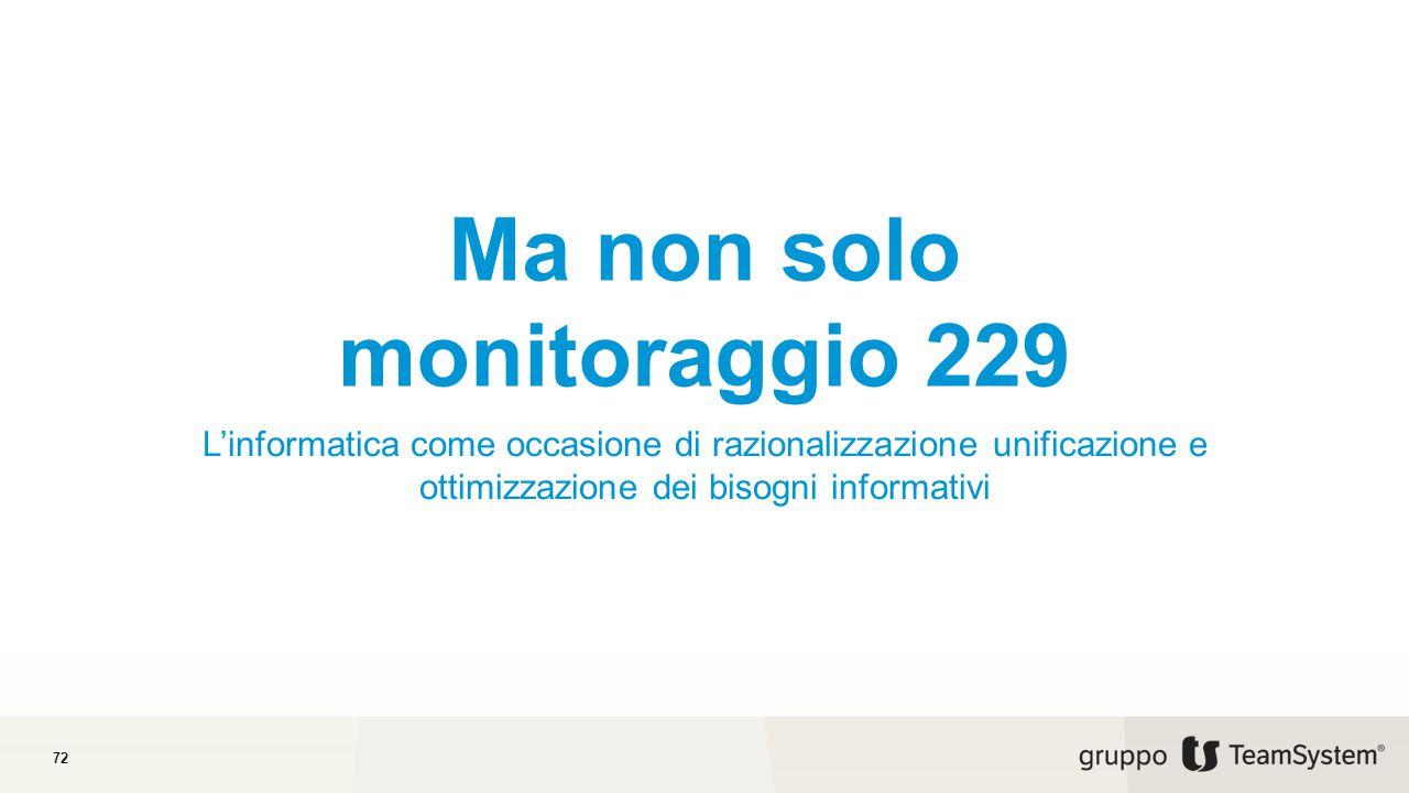 Ma non solo monitoraggio 229 L'informatica come occasione di razionalizzazione unificazione e ottimizzazione dei bisogni informativi 72
