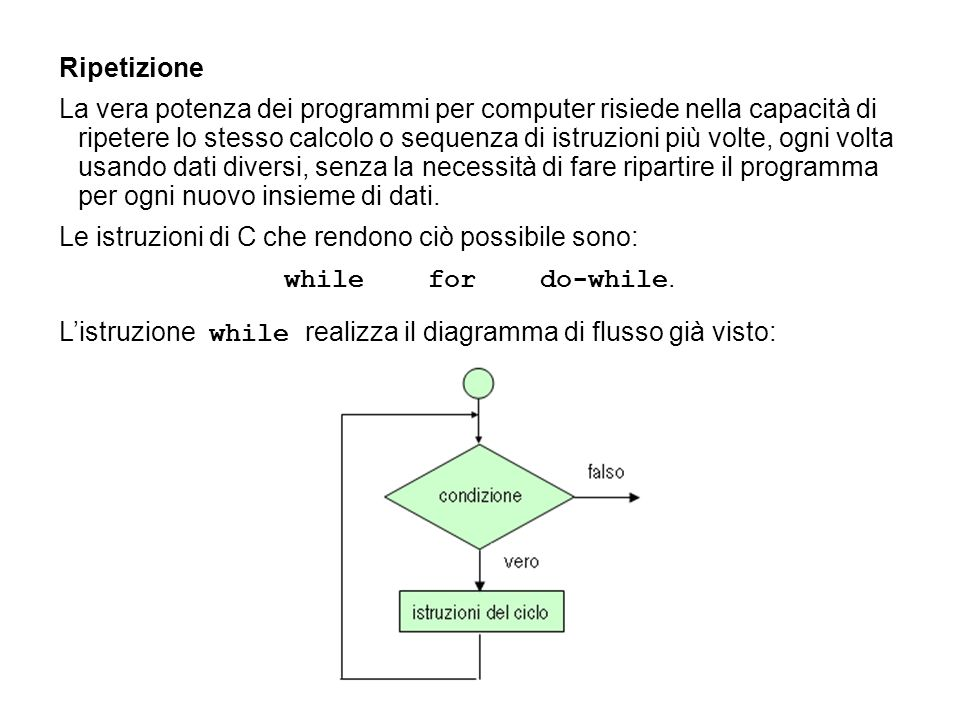 #include void main(void) { int s, k, x; s = k = x = 0; do { printf( Scrivi il numero da sommare: ); scanf( %d , &x); ++k; s = s + x; } while (k!= 5); printf( La somma è: %d , s); } Esercizio.