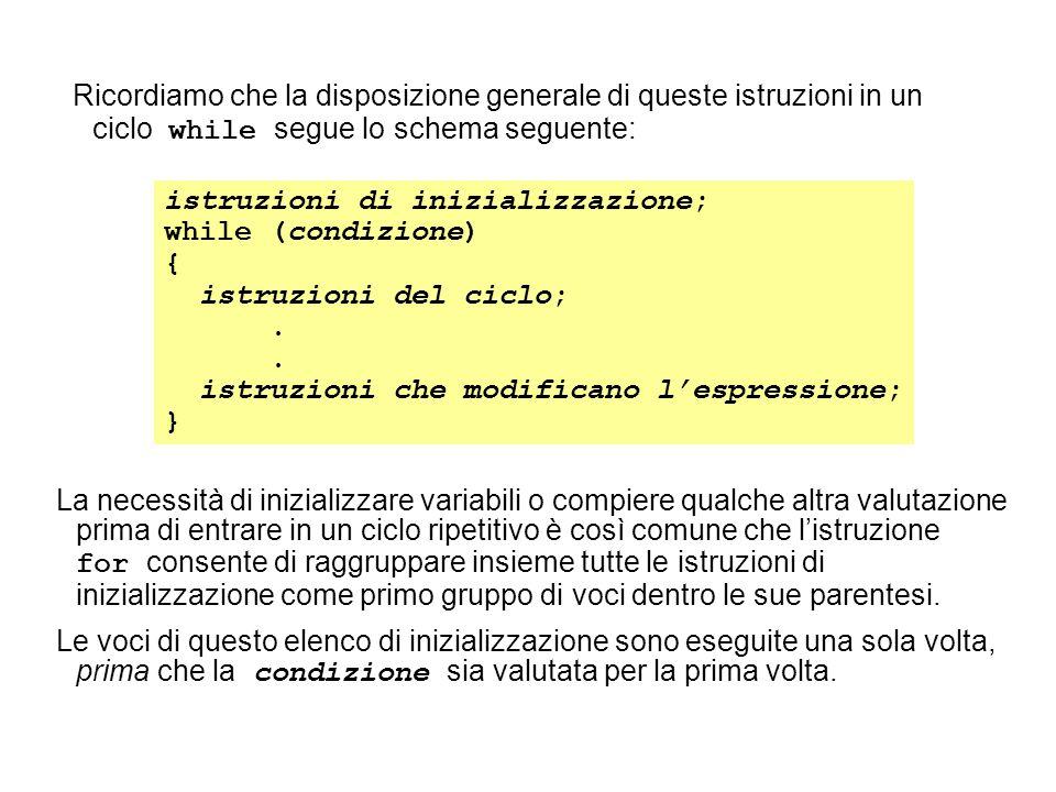 Ricordiamo che la disposizione generale di queste istruzioni in un ciclo while segue lo schema seguente: istruzioni di inizializzazione; while (condizione) { istruzioni del ciclo;.