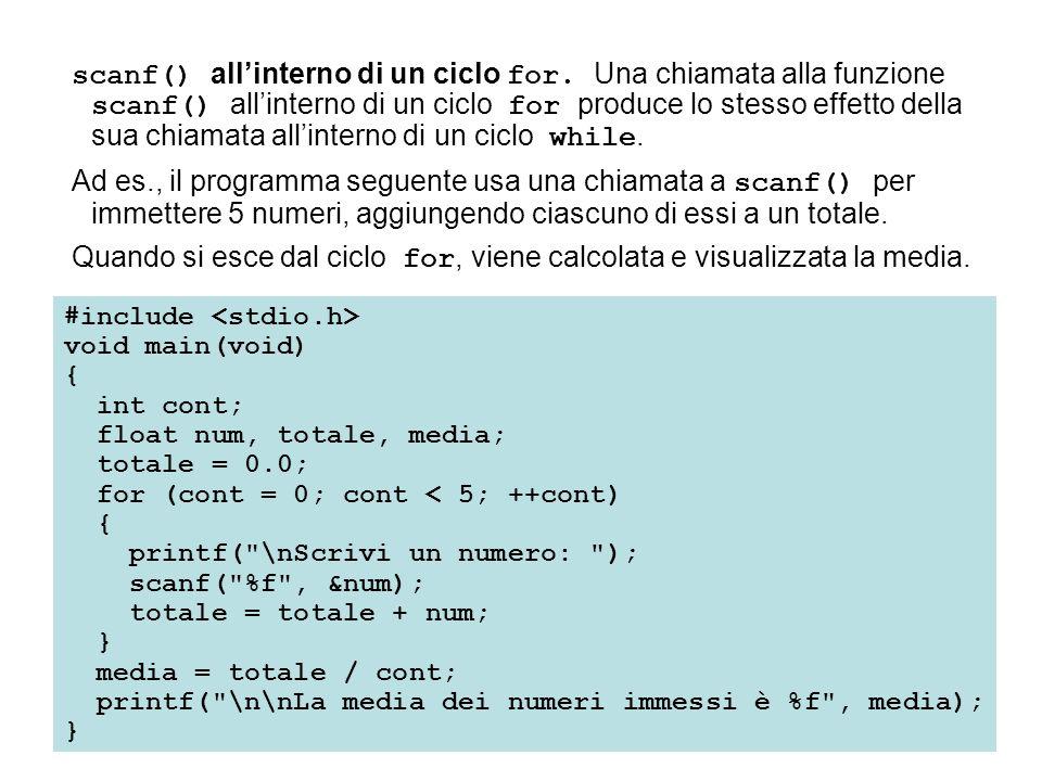 scanf() all'interno di un ciclo for. Una chiamata alla funzione scanf() all'interno di un ciclo for produce lo stesso effetto della sua chiamata all'i