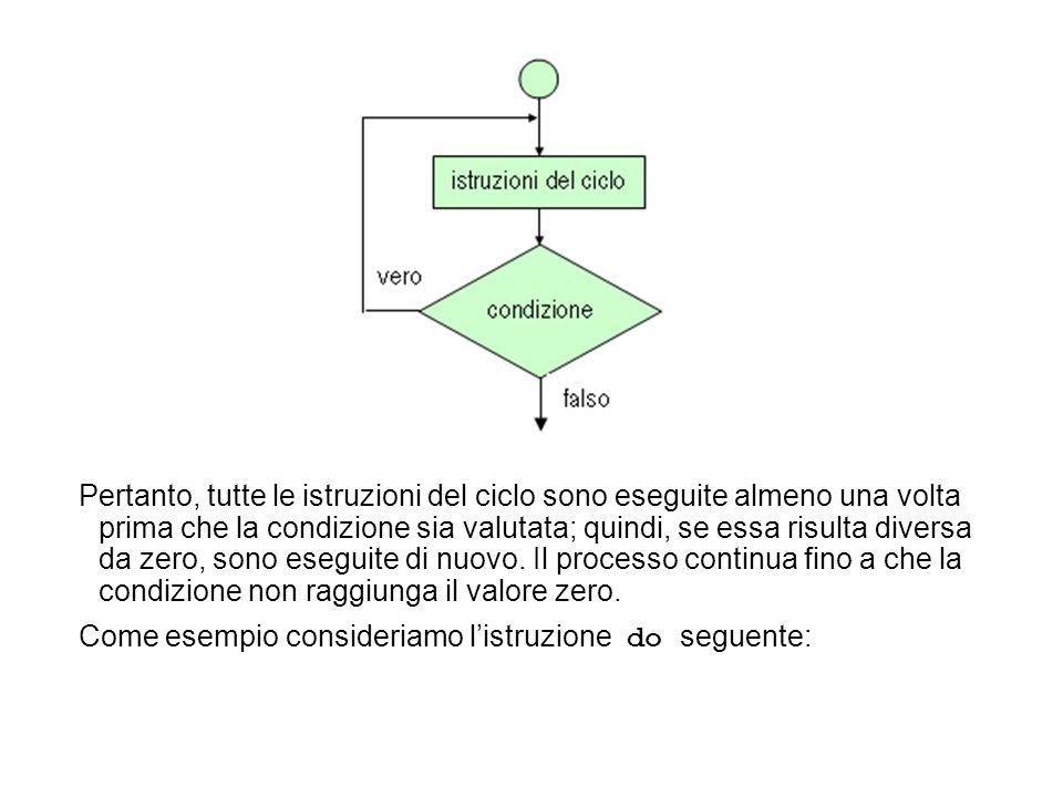 Pertanto, tutte le istruzioni del ciclo sono eseguite almeno una volta prima che la condizione sia valutata; quindi, se essa risulta diversa da zero, sono eseguite di nuovo.