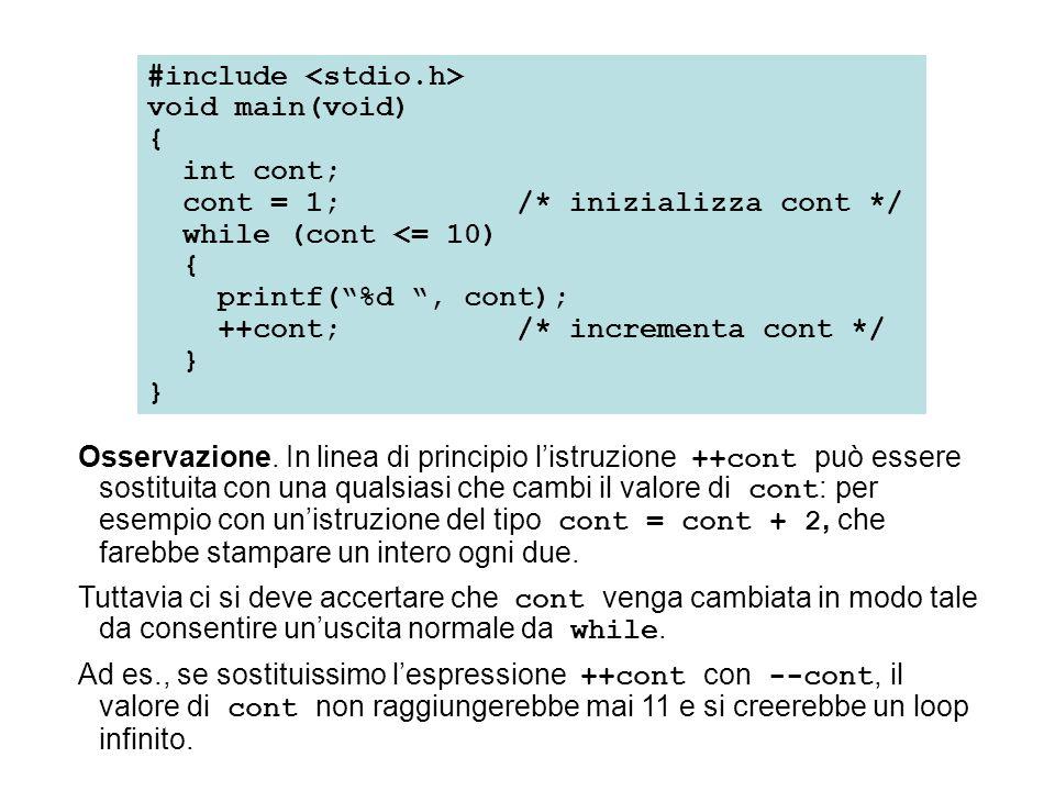 #include void main(void) { int num; printf( NUMERO QUADRATO CUBO\n ); printf( ------ -------- ----\n ); num = 1; while (num < 6) { printf( %3d %3d %4d\n ,num,num*num,num*num*num); ++num; } Esercizio.