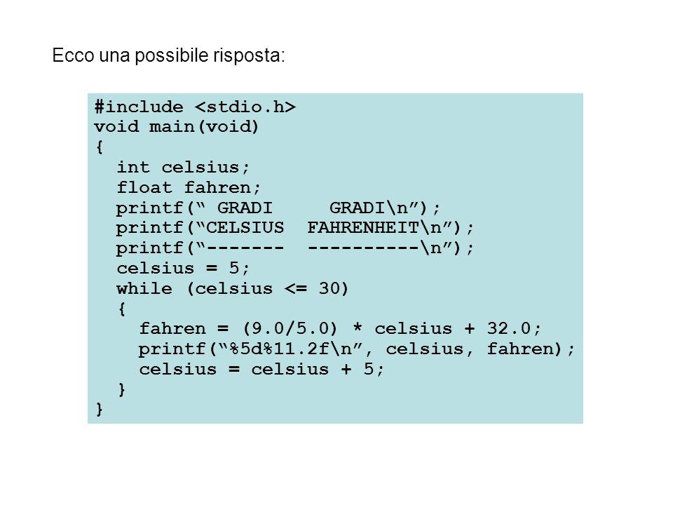 #include void main(void) { int cont; float num; printf( Questo programma chiede di scrivere 4 numeri.\n ); cont = 1; while (cont <= 4) { printf( \nScrivi un numero: ); scanf( %f , &num); printf( Il numero scritto è %f , num); ++cont; } scanf() all'interno di un ciclo while La combinazione della funzione scanf() con le possibilità di ripetizione dell'istruzione while produce programmi adattabili e utili.