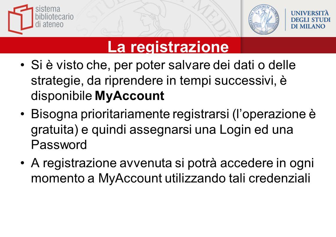 La registrazione Si è visto che, per poter salvare dei dati o delle strategie, da riprendere in tempi successivi, è disponibile MyAccount Bisogna prio