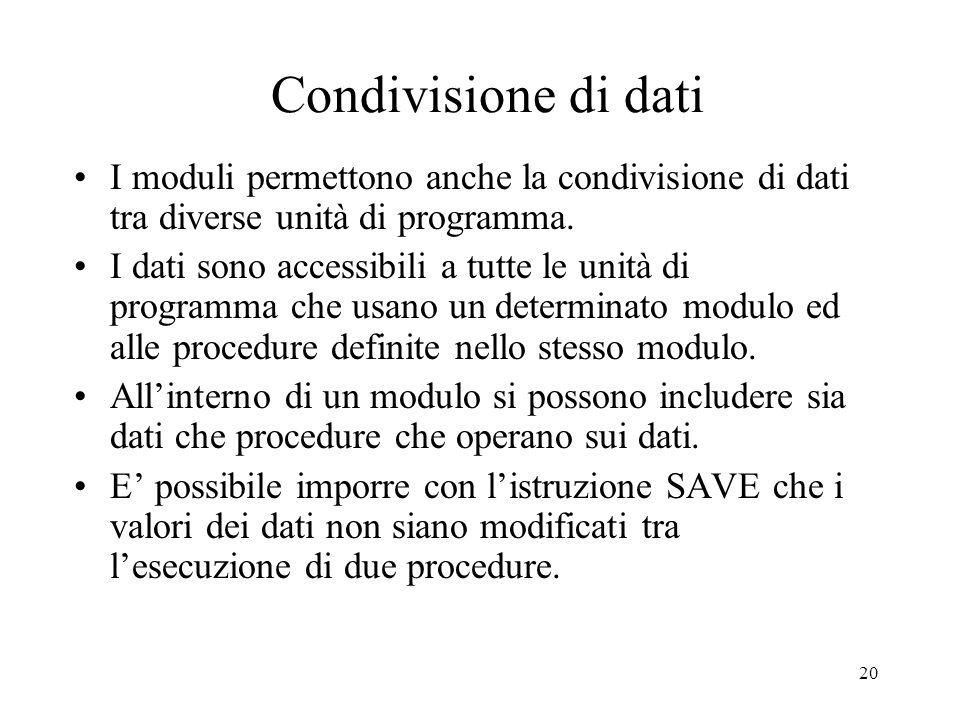 20 Condivisione di dati I moduli permettono anche la condivisione di dati tra diverse unità di programma. I dati sono accessibili a tutte le unità di
