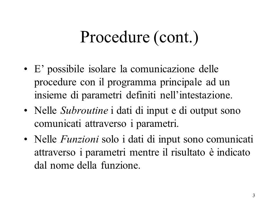 3 Procedure (cont.) E' possibile isolare la comunicazione delle procedure con il programma principale ad un insieme di parametri definiti nell'intesta
