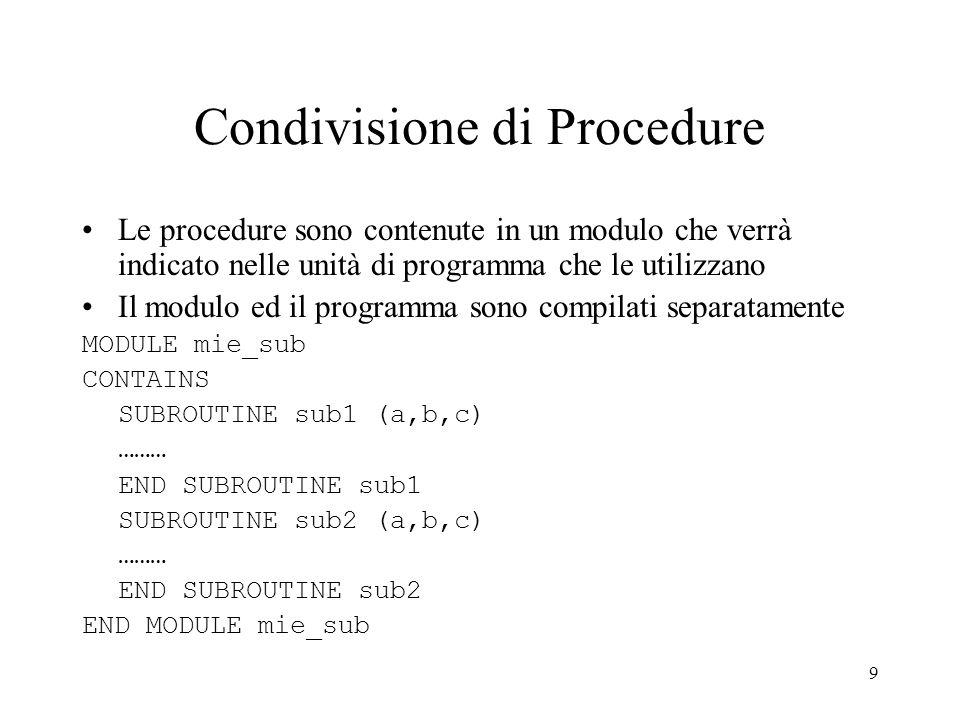 9 Condivisione di Procedure Le procedure sono contenute in un modulo che verrà indicato nelle unità di programma che le utilizzano Il modulo ed il pro