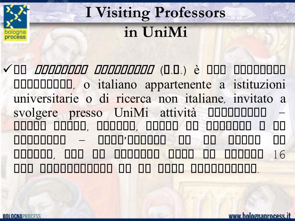 I Visiting Professors in UniMi (cont.) La proposta di attribuire il titolo di visiting professor a uno studioso proveniente dall ' estero può essere avanzata da una Facoltà, una Scuola di dottorato o un Dipartimento, con delibera del rispettivo Consiglio.