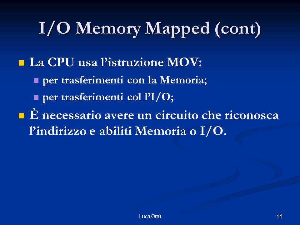 14Luca Orrù I/O Memory Mapped (cont) La CPU usa l'istruzione MOV: per trasferimenti con la Memoria; per trasferimenti col l'I/O; È necessario avere un circuito che riconosca l'indirizzo e abiliti Memoria o I/O.