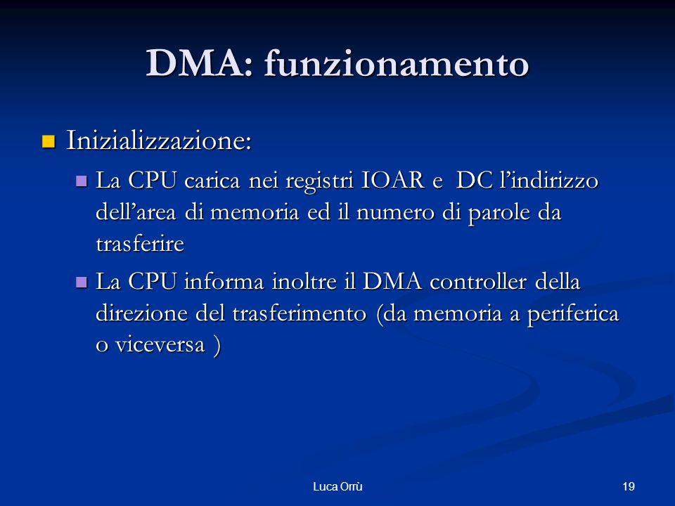 19Luca Orrù DMA: funzionamento Inizializzazione: Inizializzazione: La CPU carica nei registri IOAR e DC l'indirizzo dell'area di memoria ed il numero