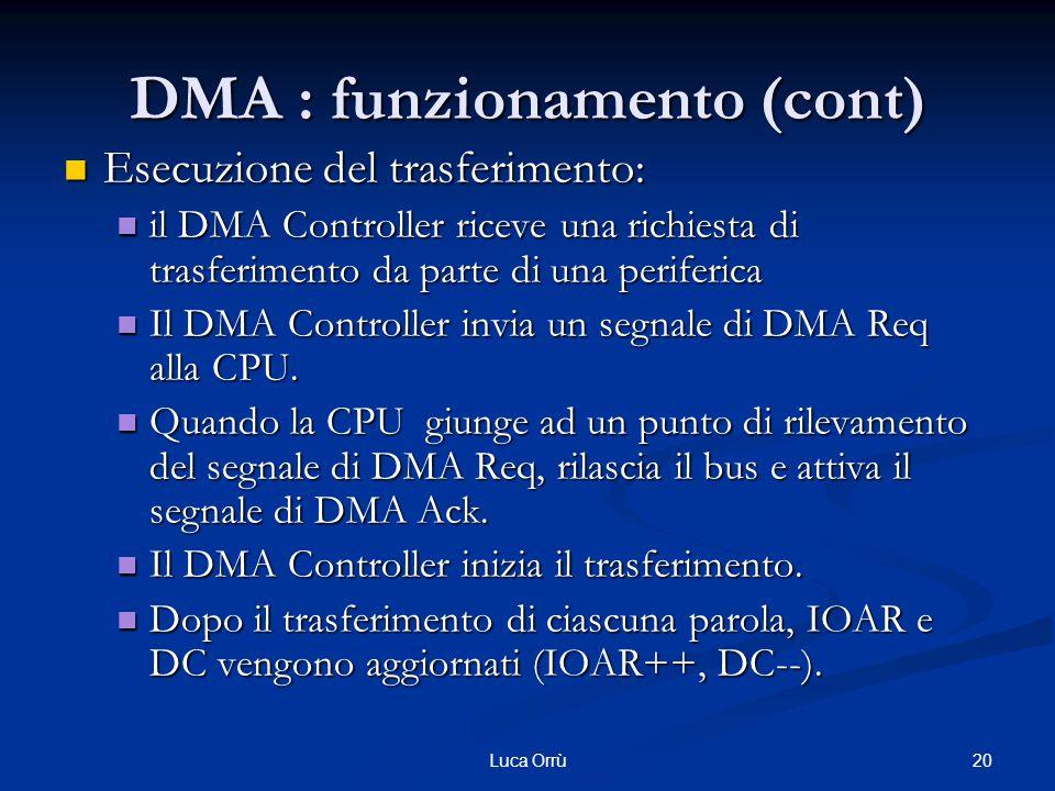 20Luca Orrù DMA : funzionamento (cont) Esecuzione del trasferimento: Esecuzione del trasferimento: il DMA Controller riceve una richiesta di trasferimento da parte di una periferica il DMA Controller riceve una richiesta di trasferimento da parte di una periferica Il DMA Controller invia un segnale di DMA Req alla CPU.