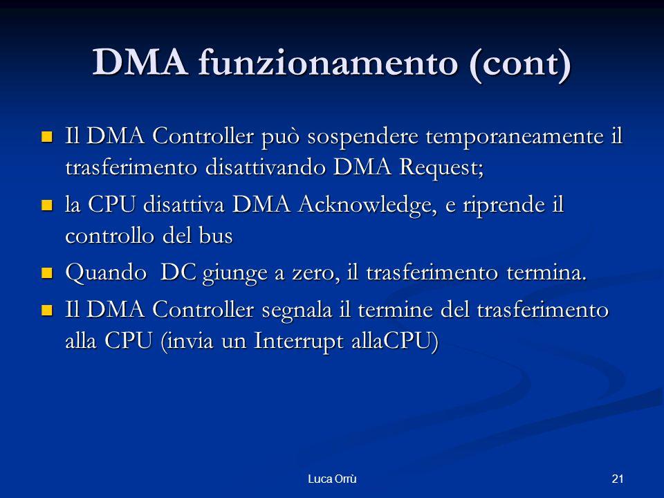 21Luca Orrù DMA funzionamento (cont) Il DMA Controller può sospendere temporaneamente il trasferimento disattivando DMA Request; Il DMA Controller può sospendere temporaneamente il trasferimento disattivando DMA Request; la CPU disattiva DMA Acknowledge, e riprende il controllo del bus la CPU disattiva DMA Acknowledge, e riprende il controllo del bus Quando DC giunge a zero, il trasferimento termina.