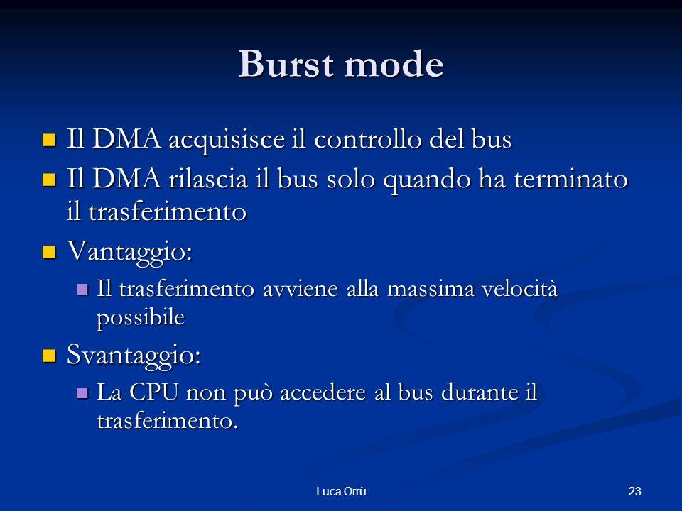 23Luca Orrù Burst mode Il DMA acquisisce il controllo del bus Il DMA acquisisce il controllo del bus Il DMA rilascia il bus solo quando ha terminato il trasferimento Il DMA rilascia il bus solo quando ha terminato il trasferimento Vantaggio: Vantaggio: Il trasferimento avviene alla massima velocità possibile Il trasferimento avviene alla massima velocità possibile Svantaggio: Svantaggio: La CPU non può accedere al bus durante il trasferimento.