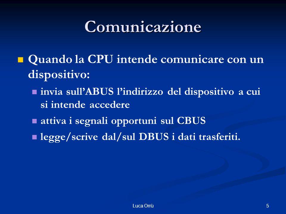 5Luca Orrù Comunicazione Quando la CPU intende comunicare con un dispositivo: invia sull'ABUS l'indirizzo del dispositivo a cui si intende accedere attiva i segnali opportuni sul CBUS legge/scrive dal/sul DBUS i dati trasferiti.