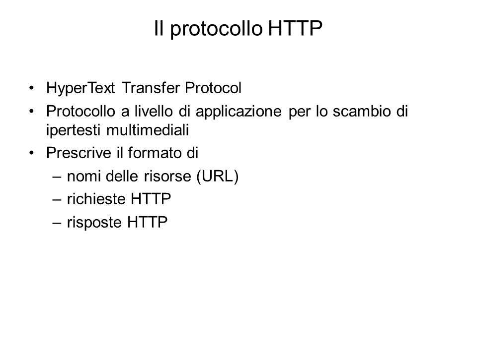 Client (web browser) Applicazione in grado di: –accedere alla rete secondo il protocollo HTTP –richiedere risorse (pagine Web) identificate da un URL a un server –interpretare comandi di formattazione (pagine Web HTML) e rendere a video la risposta del server