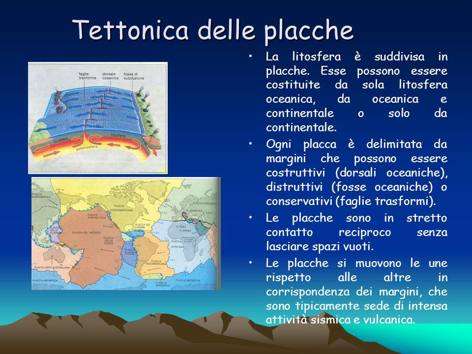 Tettonica delle placche La litosfera è suddivisa in placche. Esse possono essere costituite da sola litosfera oceanica, da oceanica e continentale o s