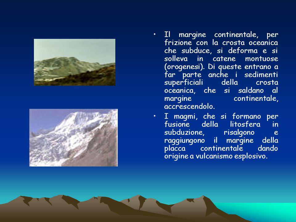 Il margine continentale, per frizione con la crosta oceanica che subduce, si deforma e si solleva in catene montuose (orogenesi). Di queste entrano a