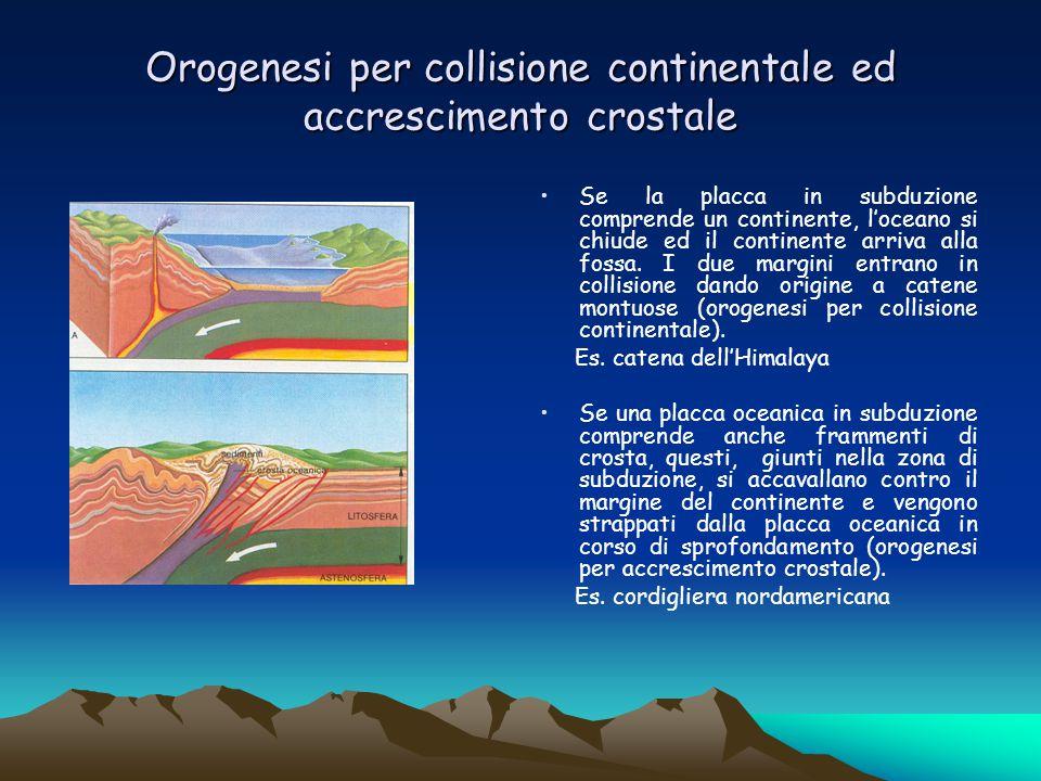 Orogenesi per collisione continentale ed accrescimento crostale Se la placca in subduzione comprende un continente, l'oceano si chiude ed il continent
