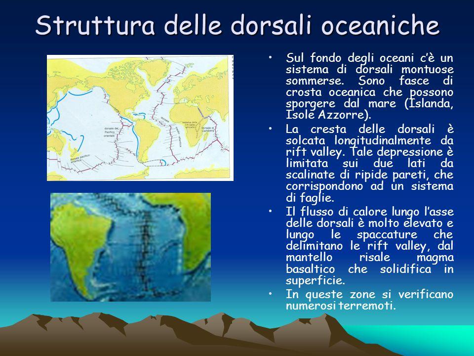 Struttura delle dorsali oceaniche Sul fondo degli oceani c'è un sistema di dorsali montuose sommerse. Sono fasce di crosta oceanica che possono sporge