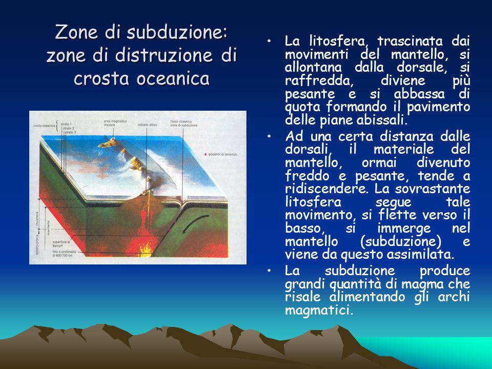 Zone di subduzione: zone di distruzione di crosta oceanica La litosfera, trascinata dai movimenti del mantello, si allontana dalla dorsale, si raffred