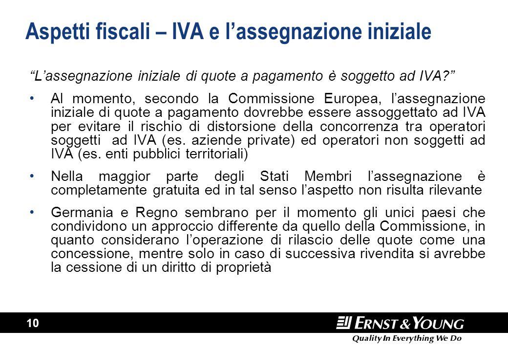 """10 Aspetti fiscali – IVA e l'assegnazione iniziale """"L'assegnazione iniziale di quote a pagamento è soggetto ad IVA?"""" Al momento, secondo la Commission"""