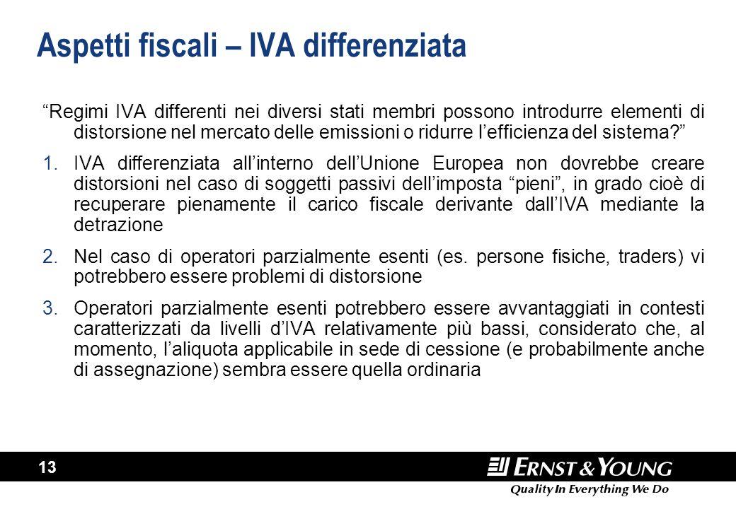 """13 Aspetti fiscali – IVA differenziata """"Regimi IVA differenti nei diversi stati membri possono introdurre elementi di distorsione nel mercato delle em"""