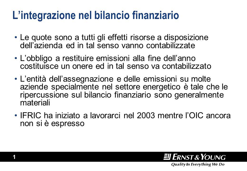 1 L'integrazione nel bilancio finanziario Le quote sono a tutti gli effetti risorse a disposizione dell'azienda ed in tal senso vanno contabilizzate L