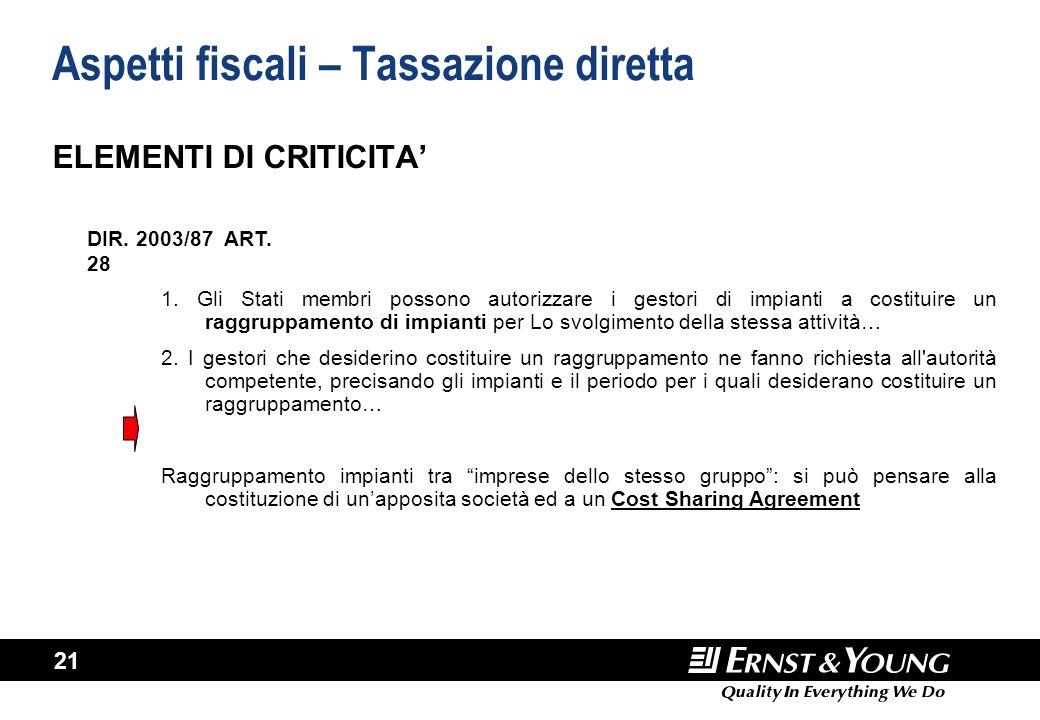 21 Aspetti fiscali – Tassazione diretta ELEMENTI DI CRITICITA' 1. Gli Stati membri possono autorizzare i gestori di impianti a costituire un raggruppa