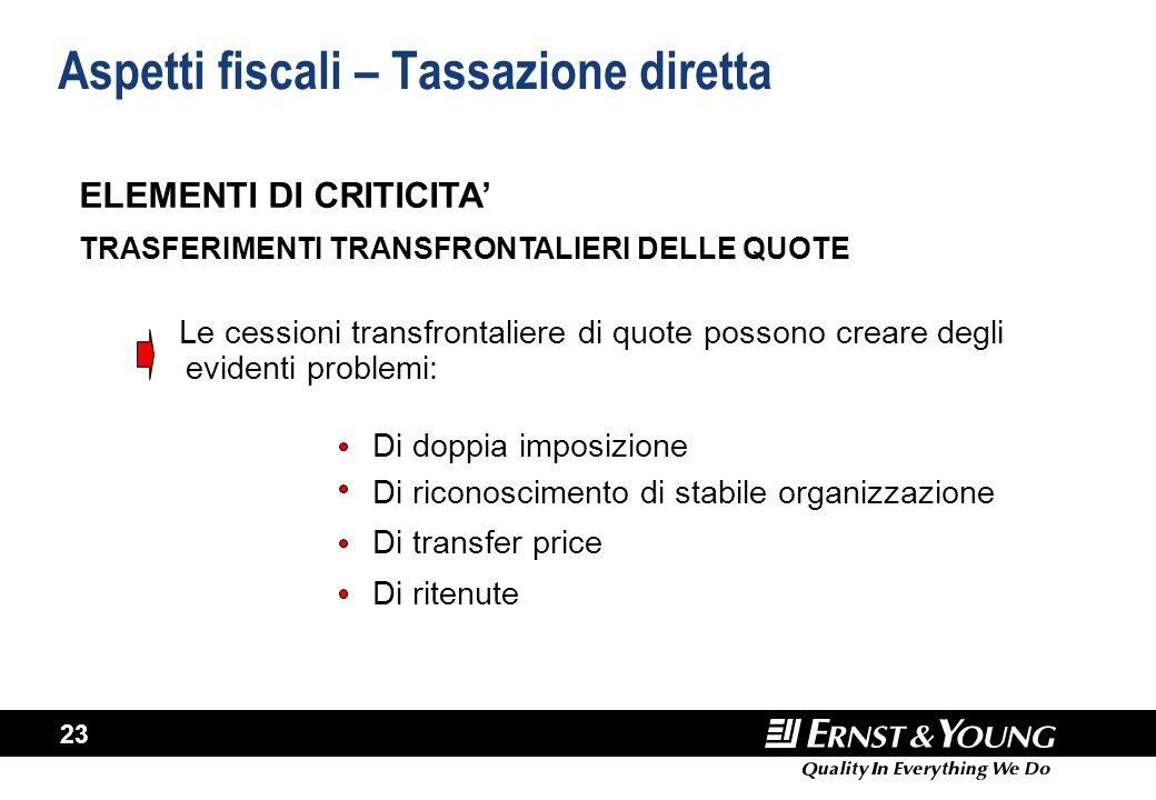 23 Aspetti fiscali – Tassazione diretta Le cessioni transfrontaliere di quote possono creare degli evidenti problemi: Di doppia imposizione Di riconos