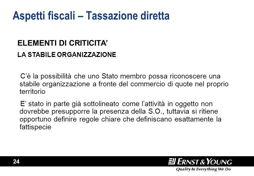 24 Aspetti fiscali – Tassazione diretta C'è la possibilità che uno Stato membro possa riconoscere una stabile organizzazione a fronte del commercio di