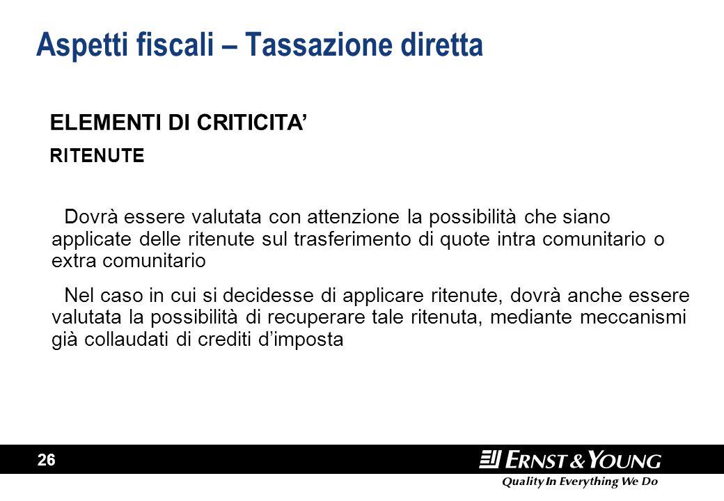 26 Aspetti fiscali – Tassazione diretta Dovrà essere valutata con attenzione la possibilità che siano applicate delle ritenute sul trasferimento di qu