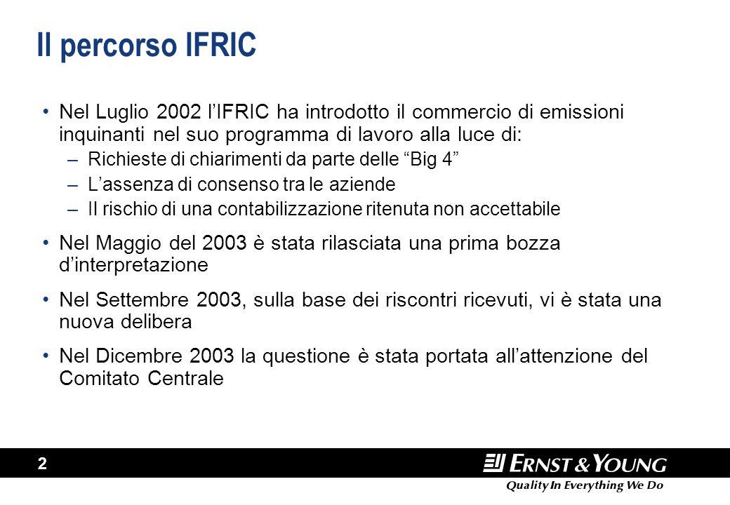 2 Il percorso IFRIC Nel Luglio 2002 l'IFRIC ha introdotto il commercio di emissioni inquinanti nel suo programma di lavoro alla luce di: –Richieste di