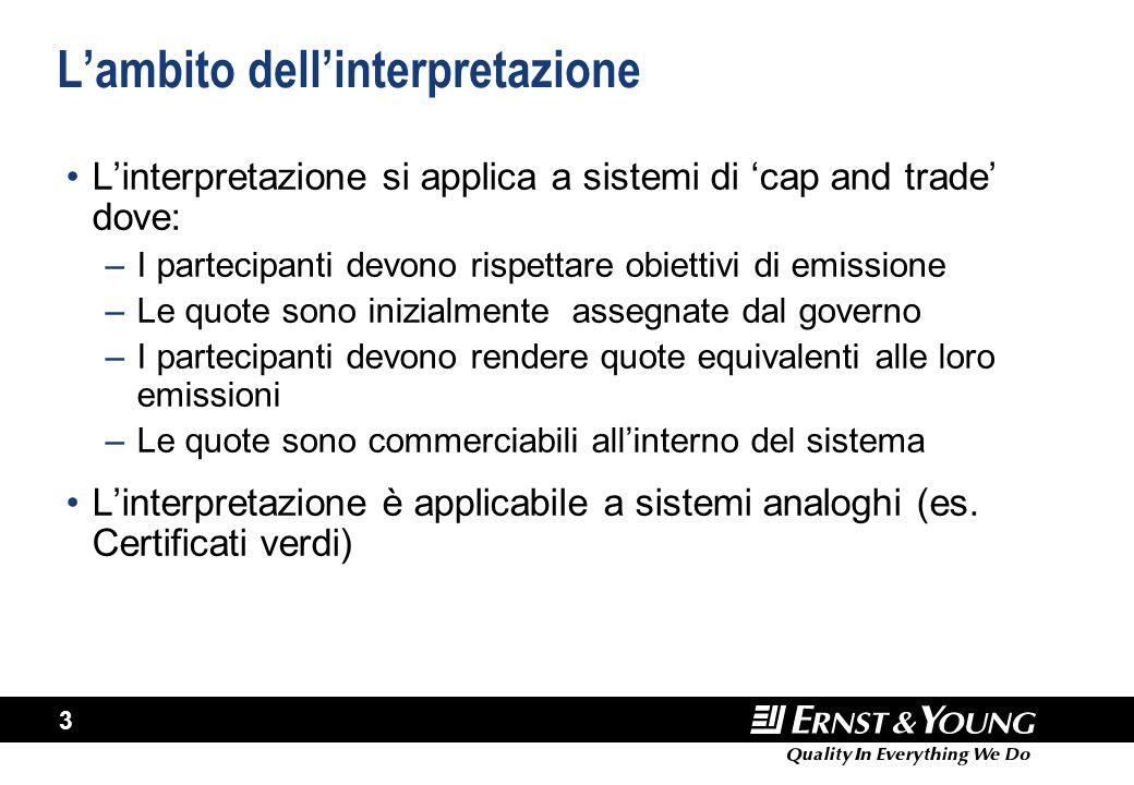 3 L'ambito dell'interpretazione L'interpretazione si applica a sistemi di 'cap and trade' dove: –I partecipanti devono rispettare obiettivi di emissio