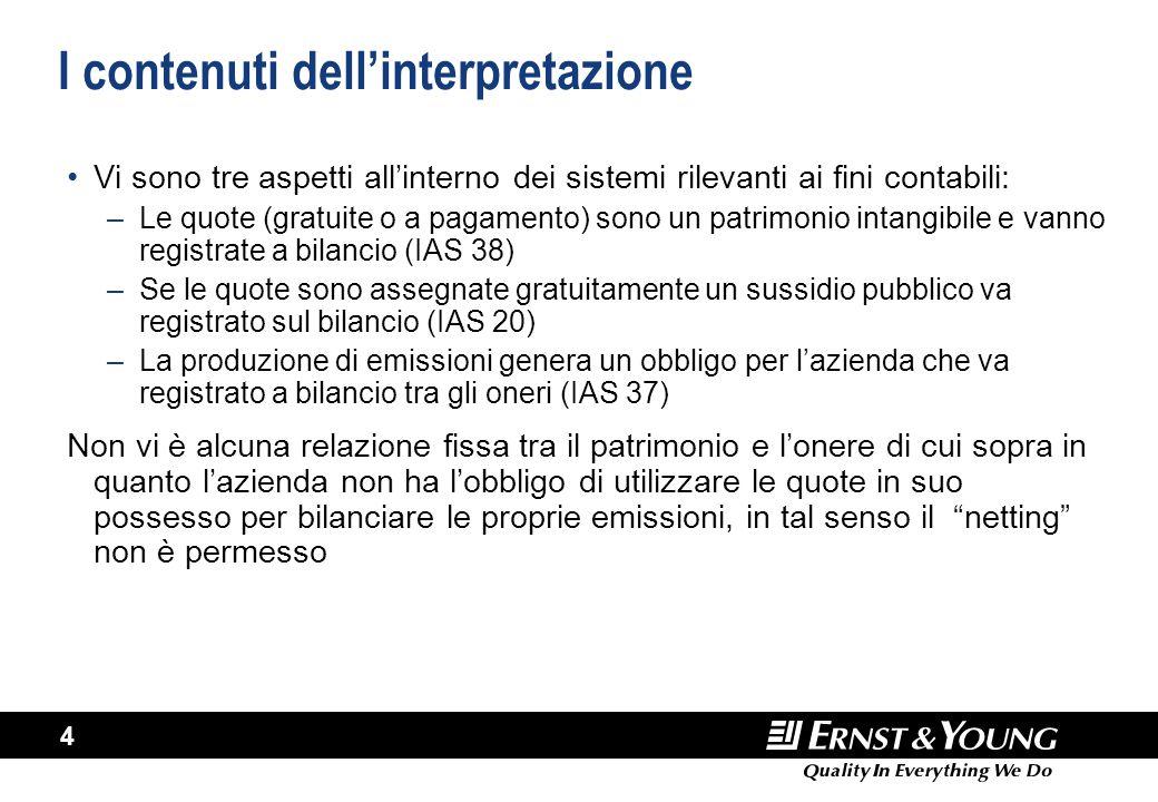4 I contenuti dell'interpretazione Vi sono tre aspetti all'interno dei sistemi rilevanti ai fini contabili: –Le quote (gratuite o a pagamento) sono un