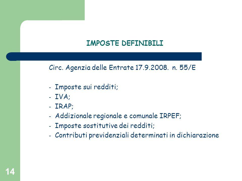 14 IMPOSTE DEFINIBILI Circ. Agenzia delle Entrate 17.9.2008. n. 55/E - Imposte sui redditi; - IVA; - IRAP; - Addizionale regionale e comunale IRPEF; -