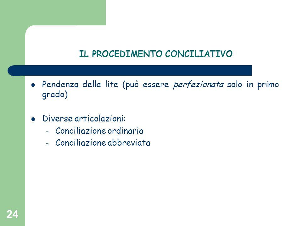 24 IL PROCEDIMENTO CONCILIATIVO Pendenza della lite (può essere perfezionata solo in primo grado) Diverse articolazioni: – Conciliazione ordinaria – C