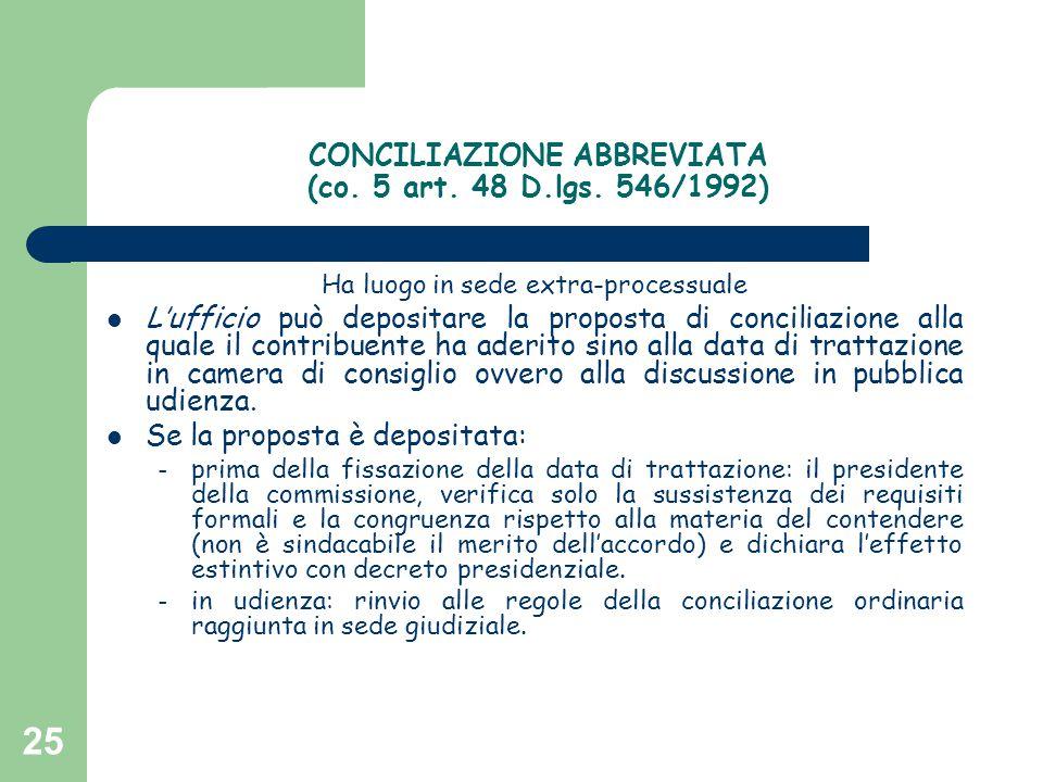 25 CONCILIAZIONE ABBREVIATA (co. 5 art. 48 D.lgs. 546/1992) Ha luogo in sede extra-processuale L'ufficio può depositare la proposta di conciliazione a