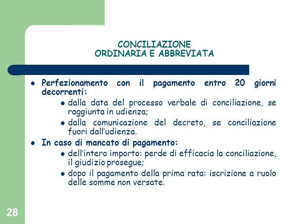 28 CONCILIAZIONE ORDINARIA E ABBREVIATA Perfezionamento con il pagamento entro 20 giorni decorrenti: dalla data del processo verbale di conciliazione,