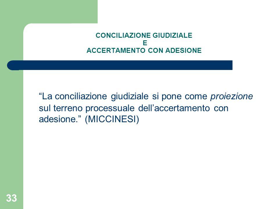 """33 CONCILIAZIONE GIUDIZIALE E ACCERTAMENTO CON ADESIONE """"La conciliazione giudiziale si pone come proiezione sul terreno processuale dell'accertamento"""