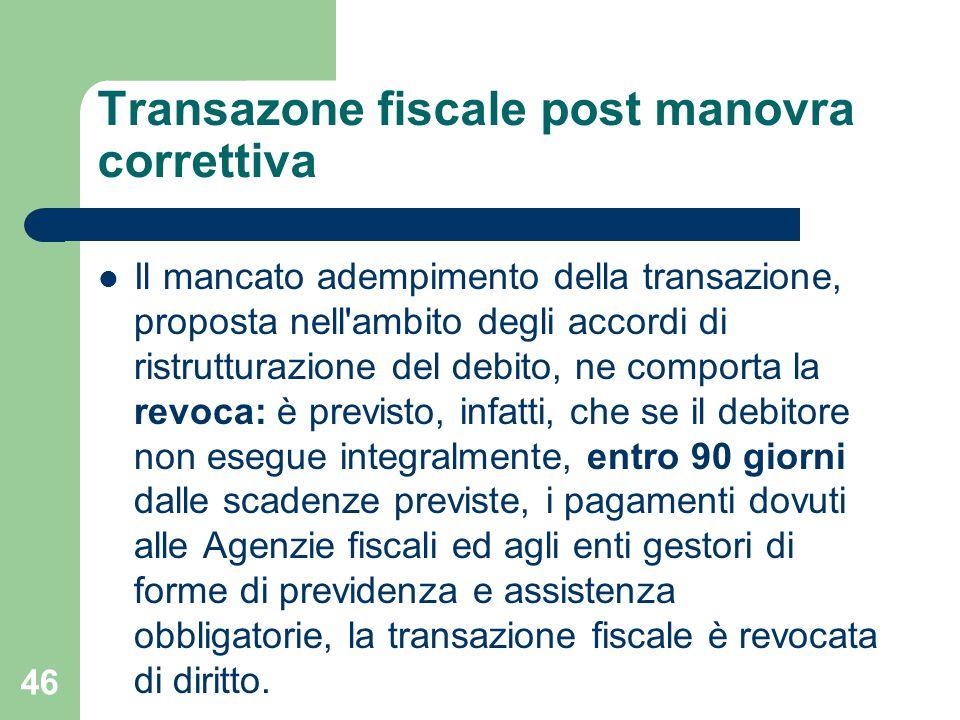 Transazone fiscale post manovra correttiva Il mancato adempimento della transazione, proposta nell'ambito degli accordi di ristrutturazione del debito