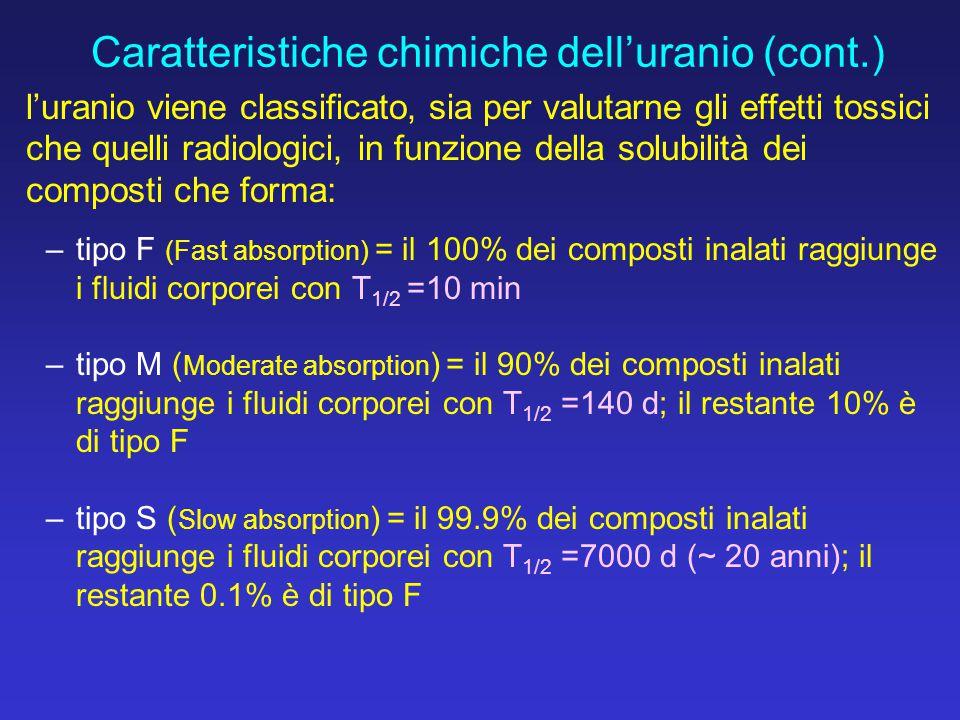 l'uranio viene classificato, sia per valutarne gli effetti tossici che quelli radiologici, in funzione della solubilità dei composti che forma: –tipo