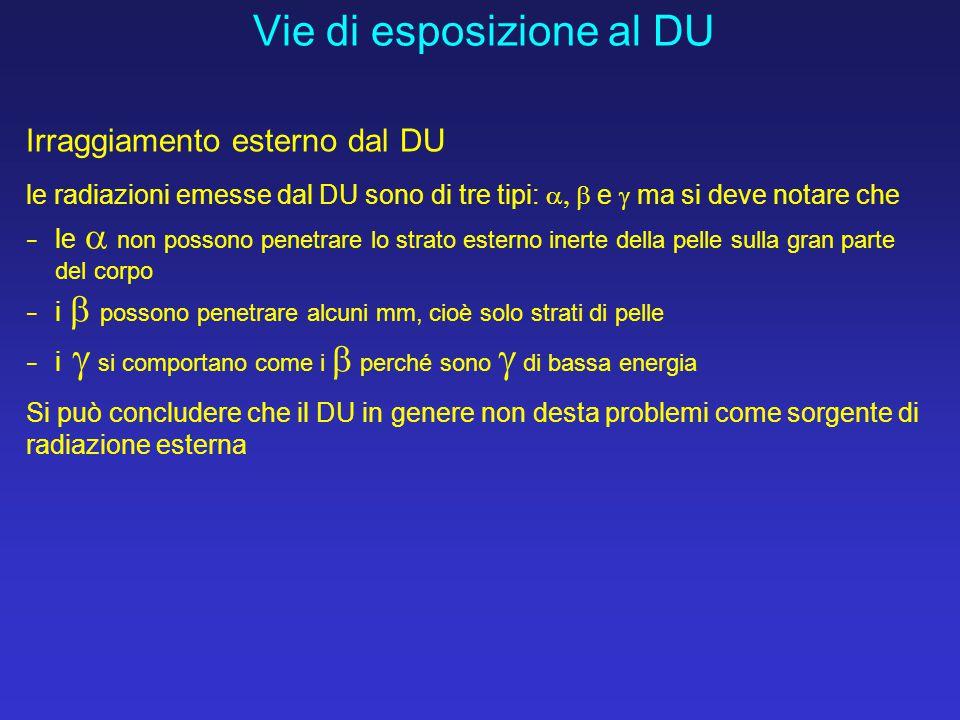Vie di esposizione al DU Irraggiamento esterno dal DU le radiazioni emesse dal DU sono di tre tipi:  e  ma si deve notare che − le  non poss