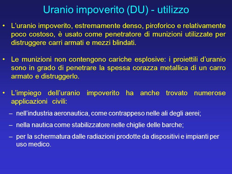 L'uranio impoverito, estremamente denso, piroforico e relativamente poco costoso, è usato come penetratore di munizioni utilizzate per distruggere car