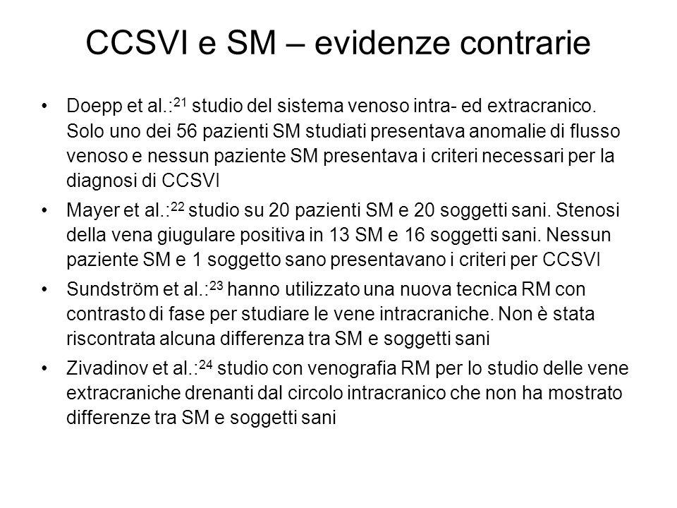 CCSVI e SM – evidenze contrarie Doepp et al.: 21 studio del sistema venoso intra- ed extracranico. Solo uno dei 56 pazienti SM studiati presentava ano