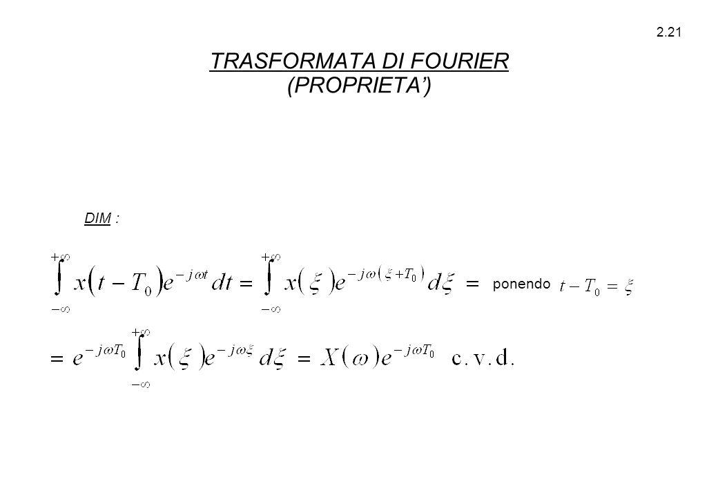 2.21 DIM : ponendo TRASFORMATA DI FOURIER (PROPRIETA')