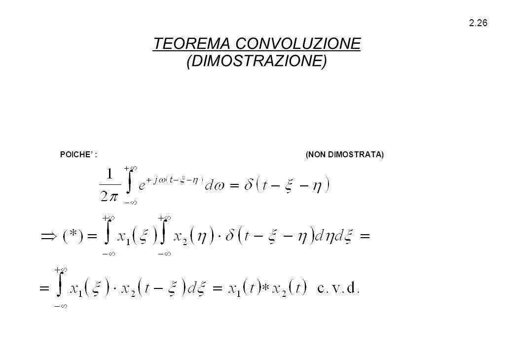 2.26 POICHE' : (NON DIMOSTRATA) TEOREMA CONVOLUZIONE (DIMOSTRAZIONE)