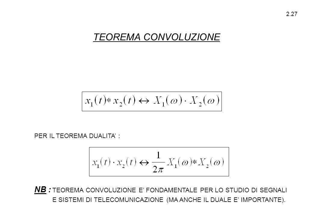 2.27 PER IL TEOREMA DUALITA' : NB : TEOREMA CONVOLUZIONE E' FONDAMENTALE PER LO STUDIO DI SEGNALI E SISTEMI DI TELECOMUNICAZIONE (MA ANCHE IL DUALE E'